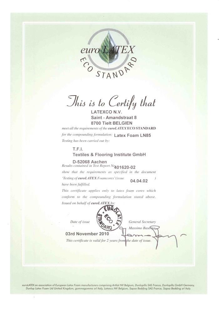 Certificat Euro Latex Naturel